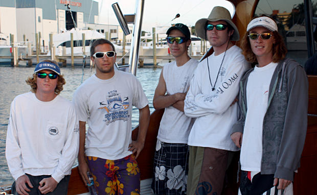 Blake, Guy, Thomas, Dusty, and Alex head out with Captain Adams