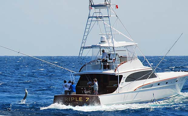 Hull# 121 in Mexico with a sailfish at the boat
